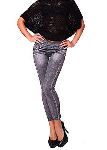 Große Extra Jahre Kostüme 80 (Modell Jeans Leggings für Frauen mit hohen Taille Einer Größe Farbe Schwarz mit schriftlichen Drucken)