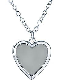 Yumi Lok Forma de Corazón Foto medallón la oscuridad, para colgante collar aleación Amuleto kettenänhanger para mujer Niños, luz azul