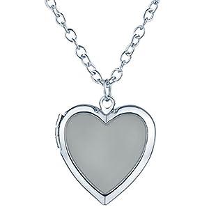 Yumilok Herzform Foto Medaillon Nachtleuchtend Anhänger Halskette Legierung Amulett Kettenänhanger für Damen Kinder, Blaues Licht