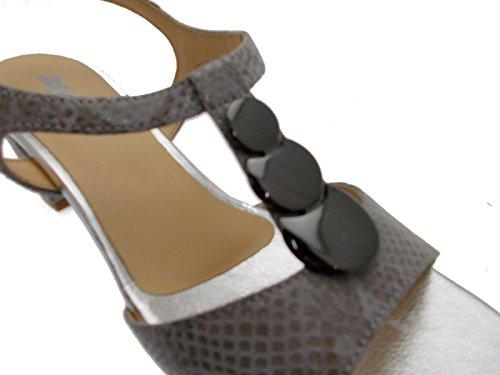 Melluso K95328 Brouillard Chaussures Femmes Sandales Talon Pierres Strass Gris