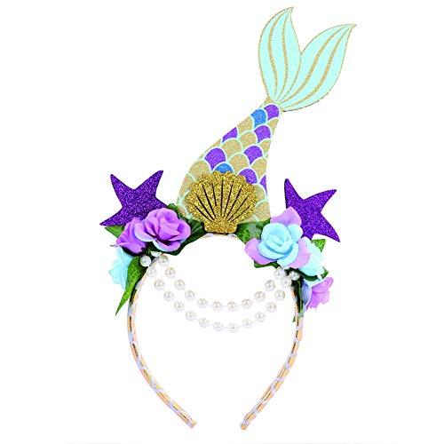 Meerjungfrau Seashell Kostüm - BARBEDINGROSE Ozean Seestern Muschel Meerjungfrau Stirnband Mädchen Prinzessin Halloween, Karneval Party