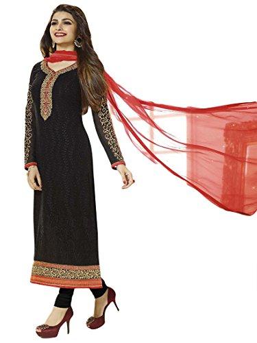 Justkartit Women's Semi-Stitched Black Colour Georgette Salwar Kameez / Party Wear Resham Embroidered Salwar Kameez / Festival Wear Dress Material (Exclusive Dress Material Collection August 2016)