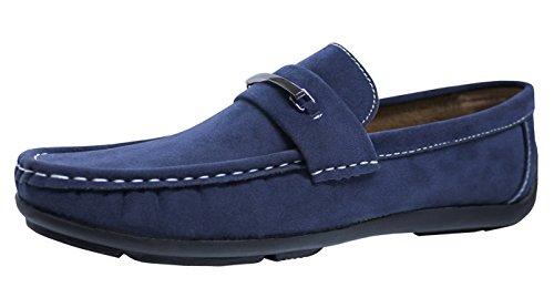 Evoga scarpe mocassini uomo blu camoscio casual eleganti man's shoes (42)