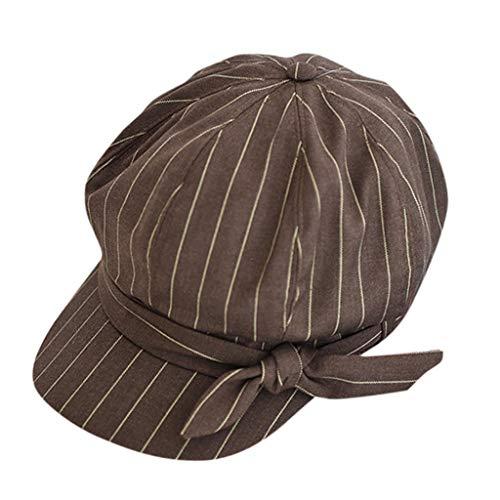 Nyuiuo Gestreifte Baskenmütze Britische Retro achteckige Kappe Lässig Bedruckte Mütze Schirmmütze Zeitungsjunge Hut Unisex-Baskenmützen
