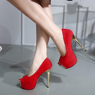 Moda Donna Sandali Sexy Donna Sandali sandali estivi / punta aperta abito scamosciato Stiletto Heel altri nero / rosso altri Red
