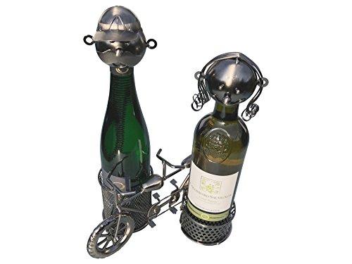 eXODA Weinflaschenhalter Fahrrad Tandem Metall Figuren Helena und Julius Design Paar