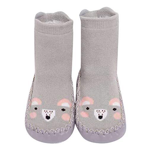 Fuibo Boden Socken, Kinder Kleinkind Baby Mädchen Jungen Cartoon Tier Dicke Warme Rutschfeste Socken Hausschuhe Baby Schritt Socken Hüttenschuh Socken (12(6-12 Monate), Grau)