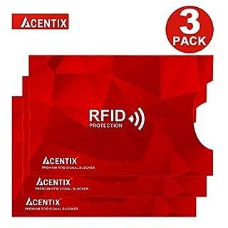 4 X ACENTIX Rot RFID- und NFC-Blockierhülsen für Kreditkartenschutz,Schutz vor Identitätsdiebstahl für Männer und Frauen,Design passt perfekt für Brieftasche / Geldbörse