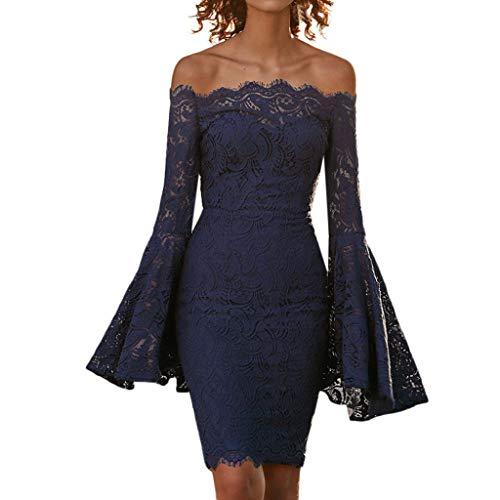 Linkay Kleid Damen Kurz Spitzenaufflackern Rock Sommer Schnüren Sie Sich Mantel Kleider Mode 2019 (Blau, Small)
