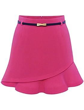 Moollyfox Mujeres Falda De Volantes Evasé Plisada Corto Asimétrico Minifalda Rose M