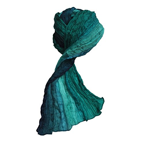 Compressana Accessoires - mehrfarbiger Designer-Schal aus 100% Seide in trendigen Farbtönen - 50 x 170 cm Seidenschal, Stola, Halstuch, Damenschal, Seidentuch