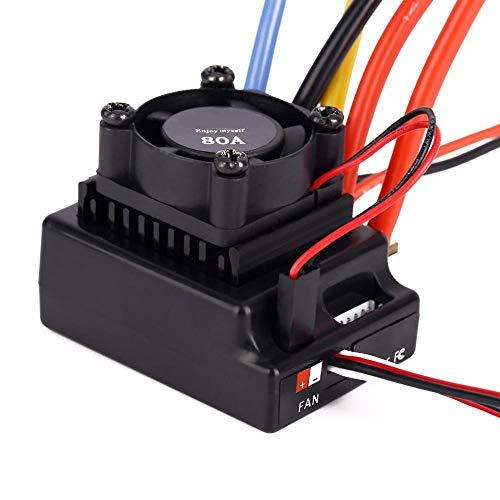 Dilwe ESC Brushless RC, 1:10 ESC 80A Sensored / Sensorless Regolatore Elettronico di velocità per Auto RC