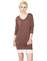 5f5036f84c790f Raikou Damen Sommer Kleider Short Dress T-Shirt Nachthemd aus Oeko-Bambus  mit Spitzenbesatz