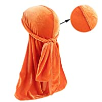 Bigood Men Outdoors Pleuche Durag Pirate Cap Head Wrap with Long Tail Orange