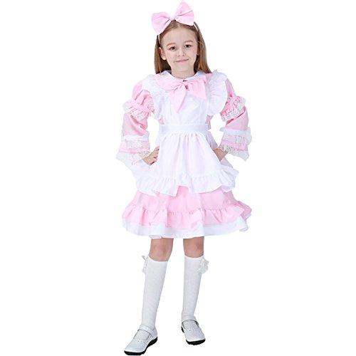 YFCH Kinder Mädchen Anime Kellnerin Kostüm Lolita Kleider Dienstmädchen Outfit,Rosa,S (Kellnerin Kostüm Mädchen)