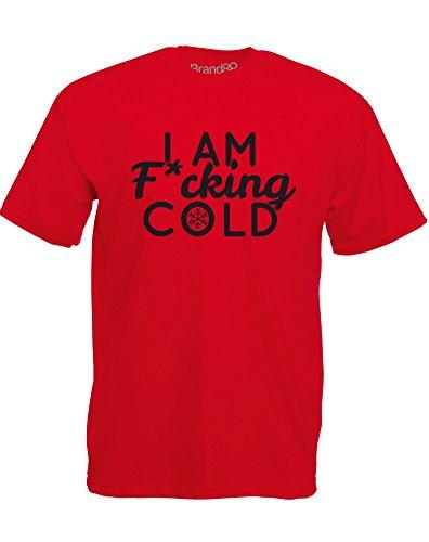 Brand88 - I Am F*cking Cold, Mann Gedruckt T-Shirt Rote/Schwarz