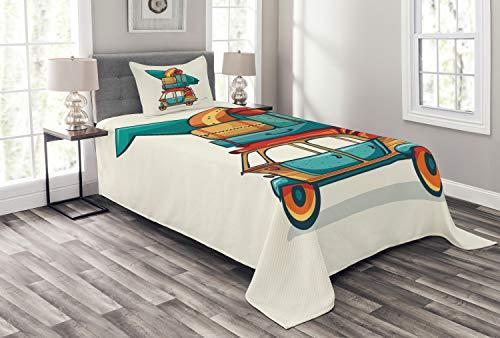 ABAKUHAUS Oldtimer Tagesdecke Set, Rikscha Gepäck, Set mit Kissenbezügen Sommerdecke, für Einselbetten 170 x 220 cm, Mehrfarbig -