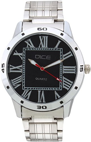 "Dice ""Numbers 4222"" Formal Round Shaped Wrist Watch for Men. Fitted with Beautiful Black Dial with Stainless Steel Case and Chain."