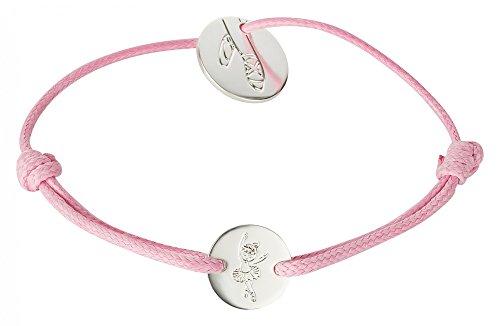 tanzmuster Ballett Armband mit silber plattiertem Anhänger mit Ballettschuh Gravur- rosa Textilarmband - perfekt als Geschenk für Tänzerinnen Band Ballerina