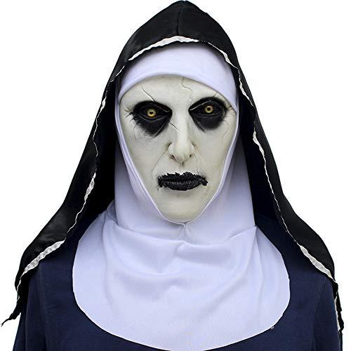 Damen Kostüm Scary - WSNGD Halloween Scary Nonne Kostüm für Damen, 2019 Nonne Maske mit Schleier Scary Zombie Maske (Nonne)