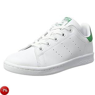 adidas Stan Smith C, Scarpe da Ginnastica Basse Unisex-Bambini, Bianco (Footwear White/footwear White/green), 33.5 EU