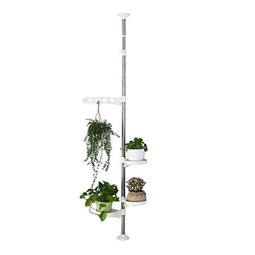 Baoyouni support de plantes d'intérieur Pot de fleurs écran support de tension Pole en acier inoxydable tige décoratifs étagère de rangement, Ivory, 4-layer, H (90-140cm) H(135-185cm)