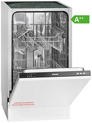 Bomann GSPE 891 Einbau-Geschirrspüler / EEK A++ / vollintegrierte Ausführung / 45 cm / 197 kWh / 9 MGD / 5 Programme / Bedienblende schwarz
