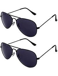 Sheomy Unisex Combo Of Black And Black UV Protected Sport Unisex Sunglasses With 2 Box (Sun-013|55|Black) Best...