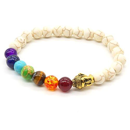 (Tiger Eye Armband Weiß Türkis 7 Charka Stein Balance Armband Elastische Reiki-Energie Schmuck Yoga Behandlungs Buddha Kopf)
