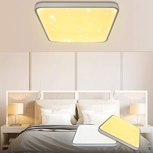 50W LED Deckenleuchte Eckig Sternenhimmel Weiß(4000LM) Wohnzimmerlampe Beleuchtung Funke Schlafzimmerleuchte Silber Energiesparende Möbeleinbauleuchte
