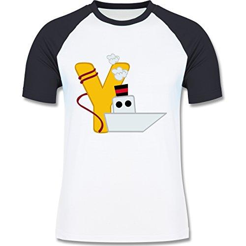 Anfangsbuchstaben - Y Schifffahrt - zweifarbiges Baseballshirt für Männer Weiß/Navy Blau