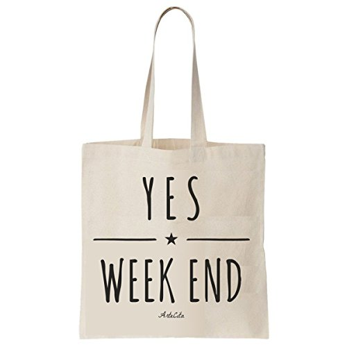 Tote Bag Imprimé Ecru - Toile en coton bio - Yes Week End !