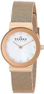 Skagen Slimline 358SRRD - Reloj de mujer de cuarzo, correa de acero inoxidable color oro de Skagen