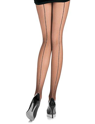 Sara Damen Strumpfhose mit Naht unt Glitzer Gliter Pantyhose Stockings 15 DEN Lurex Strumpfhose Schwarz (Strumpfhosen Schwarz Stocking Strumpfhosen)
