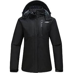 wantdo women's detachable hood waterproof rain jacket fleece lined windbreaker ski jacket
