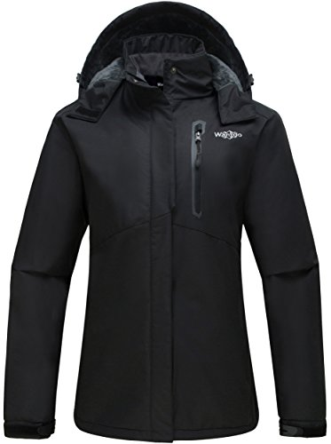 wantdo women's detachable hood waterproof rain jacket fleece lined windbreaker ski jacket