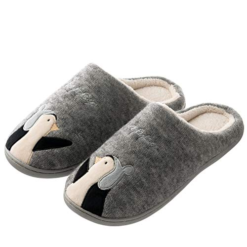 Tofern Womens and Mens Cute Cozy Slip On House Slippers Indoor Outdoor Warm Winter Slippers with Rubber Sole