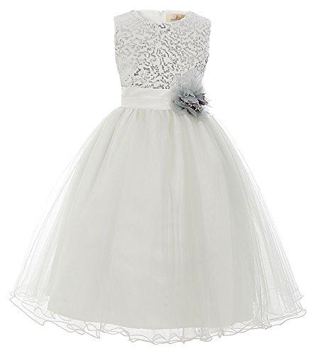 GRACE KARIN Maedchen Elegant Blumenmaedchen Prinzessin Hochzeit Hellgrau Kleid 8-9 Jahre