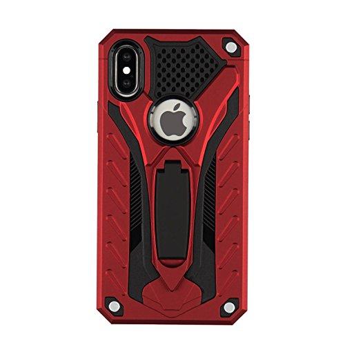 Oheng Tech Housse Armor Coque Case pour Apple iPhone X avec Super Impact Résistant double Structure de protection, élastique TPU + PC hard cover, avec protection caméra pour iPhone X (2017) Red