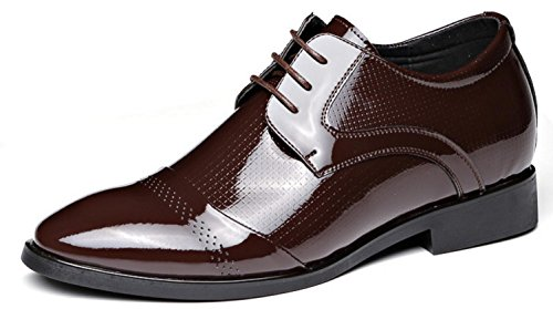 Nspx Men's Casual Respirant Men's Shoes / Hauteur Interne / Chaussures Hommes Angleterre Cuir Chaussures Bright, 40 Brownrise-37