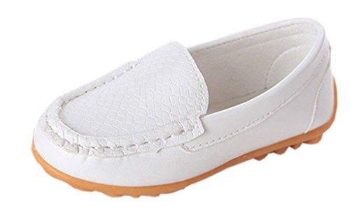 Y-BOA Chaussure Bateau Mocassin Souple Enfants Fille Garçon Similicuir Oxford Automne (Taille 26:16cm, Blanc)