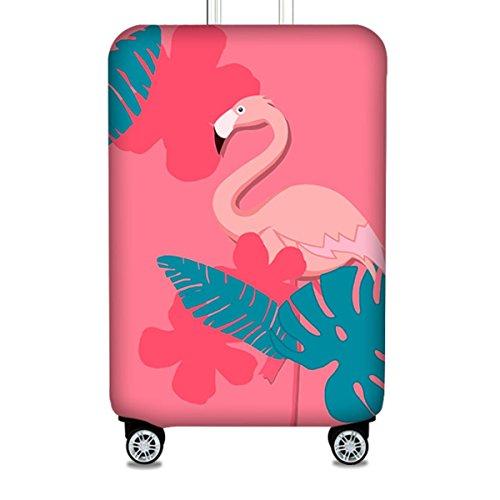 Bestja Elastisch Reise Kofferschutzhülle Abdeckung Waschbar Kofferhülle Schutz Bezug Luggage Cover für 18-32 Zoll Koffer (Flamingo 1, M)