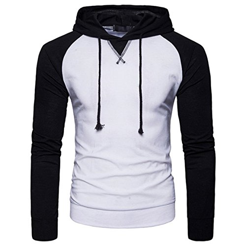 Moonuy,Herren Long Sleeved Hoodies, Casual Charme Top Bluse Bangdge Pullover Fashion & Sport Dünne Bluse, Boy Casual Patchwork Kapuzenpullover mit Kapuze T-Shirt (Weiß, EU 38 / Asien L) (Velour Hoodie Shirt)