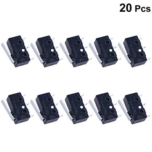 UKCOCO Interruptor de límite de 20 piezas Impermeable Interruptor de botón pulsador momentáneo 3 pernos Palanca larga de bisagra Interruptor micro (negro)