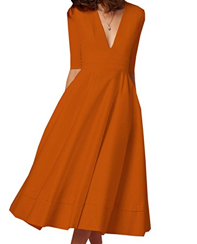 Donna Dress V-Collo Midi Abito da Cocktail Sera Partito Cerimonia Vestitini Elegante Vestito Lunghi Vintage Swing Vestiti Arancia