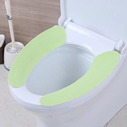 Ruimin WC-Sitz, weich, warm Plüsch WC-Sitz Kissen Pad Matte waschbar dehnbar WC-Sitz Warmer dicker grün -