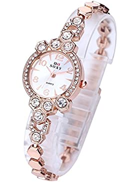 JSDDE Uhren,Elegant Damen Armbanduhr mit Strass Damenuhr Hexagon Rosegold Metall-Band Analog Qaurzuhr Armreif...