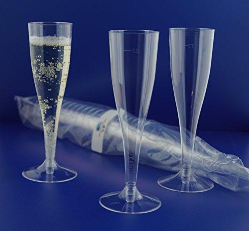 40 Einweg Sektgläser , glasklar mit Eichstrich 0,1l Champagnergläser Sektkelche Sektglas mit Steckfuß 2-teilig. von Gastro-Bedarf-Gutheil® (Sektgläser Einweg)