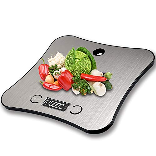 TOFOCO Digital Küchenwaage Testsieger Waage Backen Food Scale, 1-5000g/ml Tara Multifunktionswaage Elektronische Waage Küchen Klein Digitalwaage LCD Display - Silber - 1 STK.