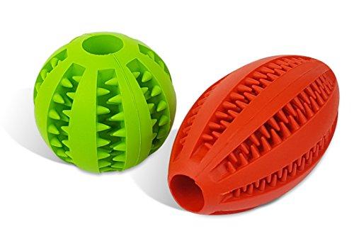 Hunde Kauspielzeug mit Zahnpflege-Funktion (2er Set) | Kauball mit Dental-Reinigung | Hunde-Spielzeug zum Kauen | Ball und Rugby-Ei im Set